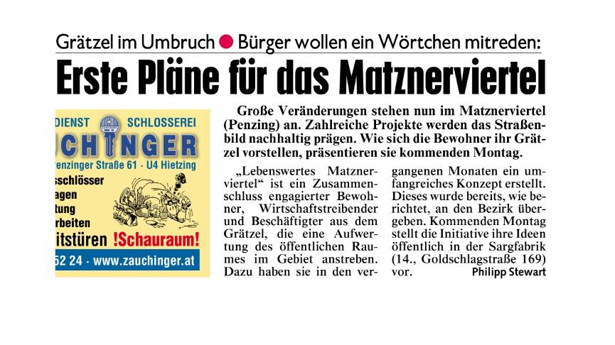 """""""Erste Pläne fürs Matznerviertel"""""""