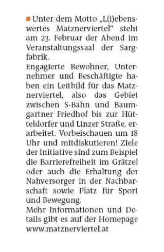 """""""Matznerviertel mit neuem Leitbild"""""""