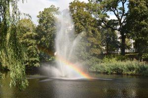 Springbrunnen auf einer Wasserflaeche