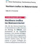 Bezirkszeitung: Nachbarschaftstreff im Matznerviertel