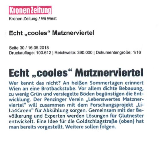 """Kronen-Zeitung: Echt """"cooles"""" Matznerviertel"""