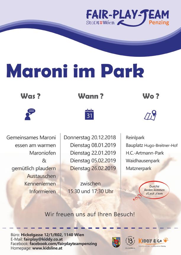 Plakat zu Maroni in diversen Penzinger Parks
