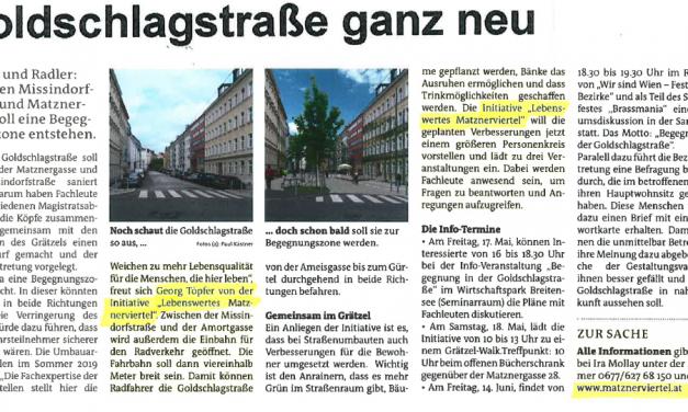 Medienbericht zur Neugestaltung der Goldschlagstraße
