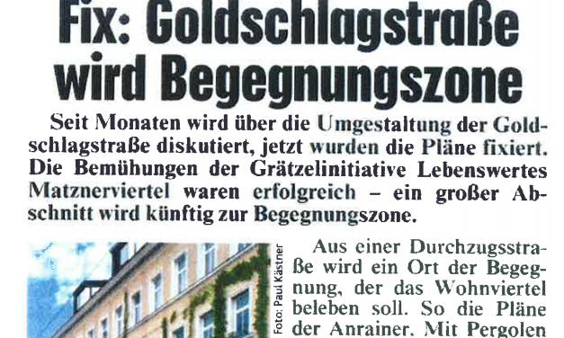 KronenZeitung: Begegnungszone Goldschlagstraße fix