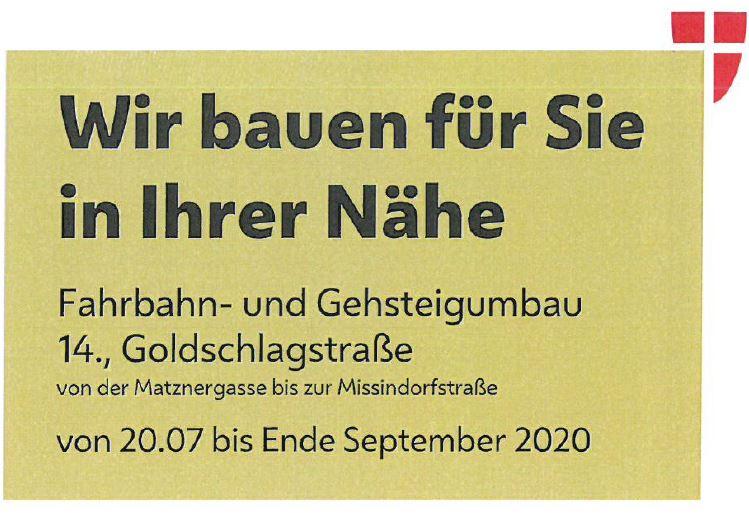 Umbau Goldschlagstrasse in vollem Gange!