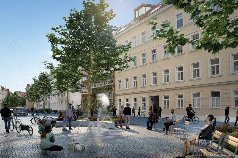 Wohnstraße Goldschlagstraße als Beitrag zum Klimaschutz